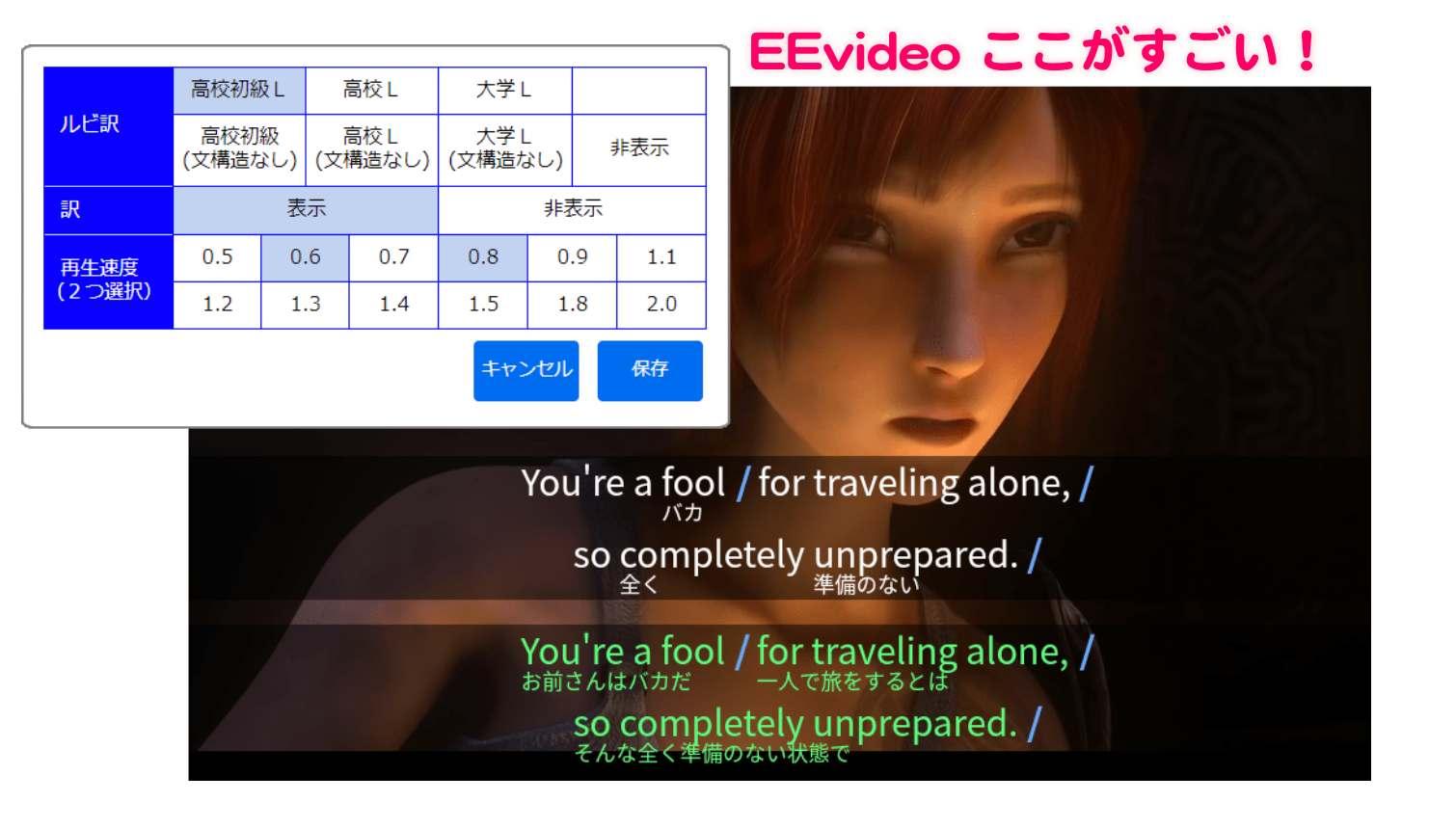 EEvideoはネットで映画、ニュース、アニメなどの動画を使って楽しみながら英語学習が無料からできるのでおすすめです